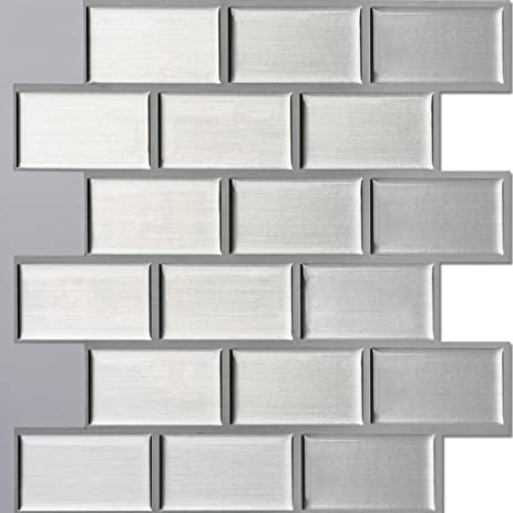ecoart peel and stick self adhesive wall tile for kitchen   bathroom backsplash in silver amazon com  ecoart peel and stick self adhesive wall tile for      rh   amazon com