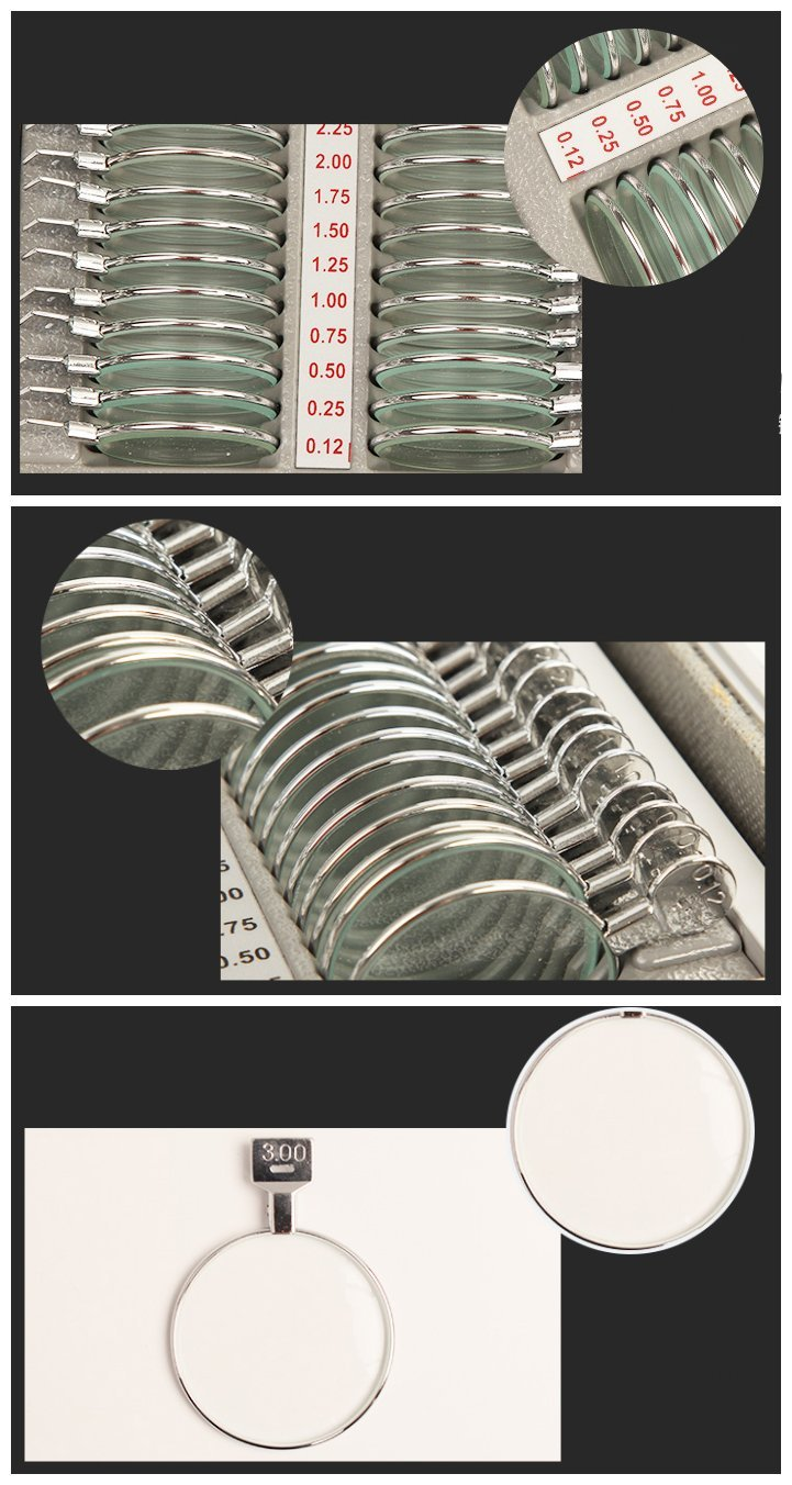 Huanyu 266pcs Optometry Trial Lens Set Case Optometry Box Glasses Optometry Equipment 36mm Aperture Aluminum Suitcase Metal Circle