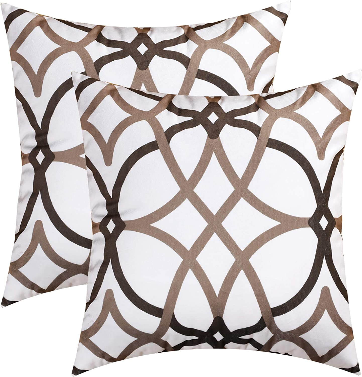 H.VERSAILTEX Original Velvet Cushion Covers 18x18 Throw Pillow Covers for Living Room (Set of 2) Luxury Solid Modern Decorative Pillows for Chair/Sofa/Couch Bed, Taupe and Brown Geo Pattern