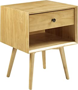 Walker Edison Mid Century Modern Wood Nightstand Side Bedroom Storage Drawer and Shelf Bedside End Table, 1, Light Oak