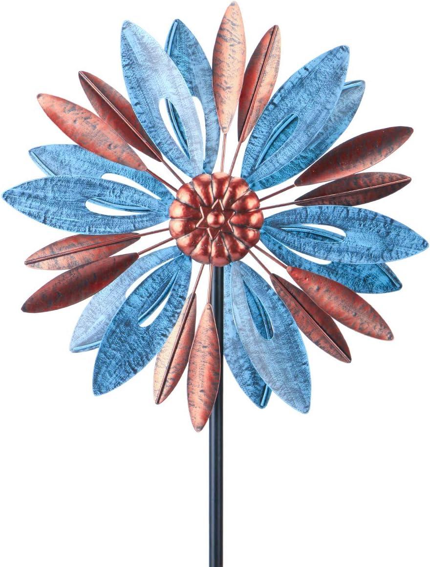 "MUMTOP Wind Spinner 360 Degrees Double Steel Metal Wind Sculpture is 14"" Diameter 52"" Height Suitable for Decorating Your Patio, Lawn & Garden"