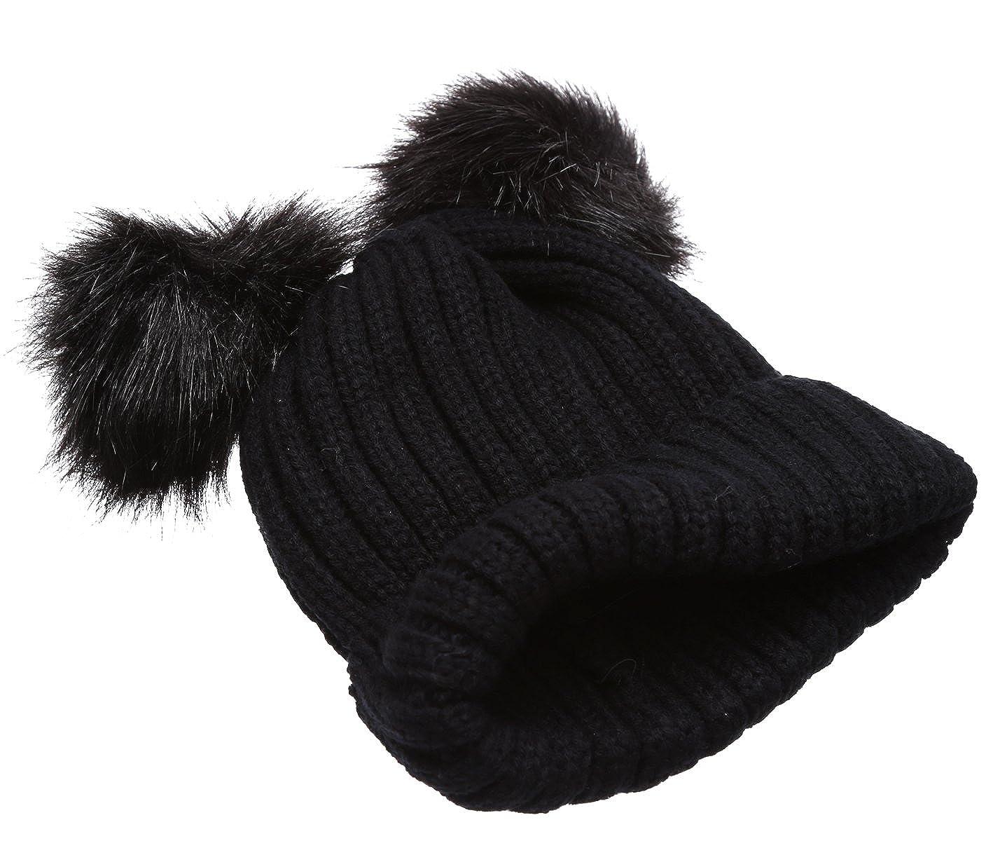 3fb85b9fad7e6 Women s Winter Chunky Knit Double Pom Pom Beanie Hat With Hair Tie.(Black)  at Amazon Women s Clothing store