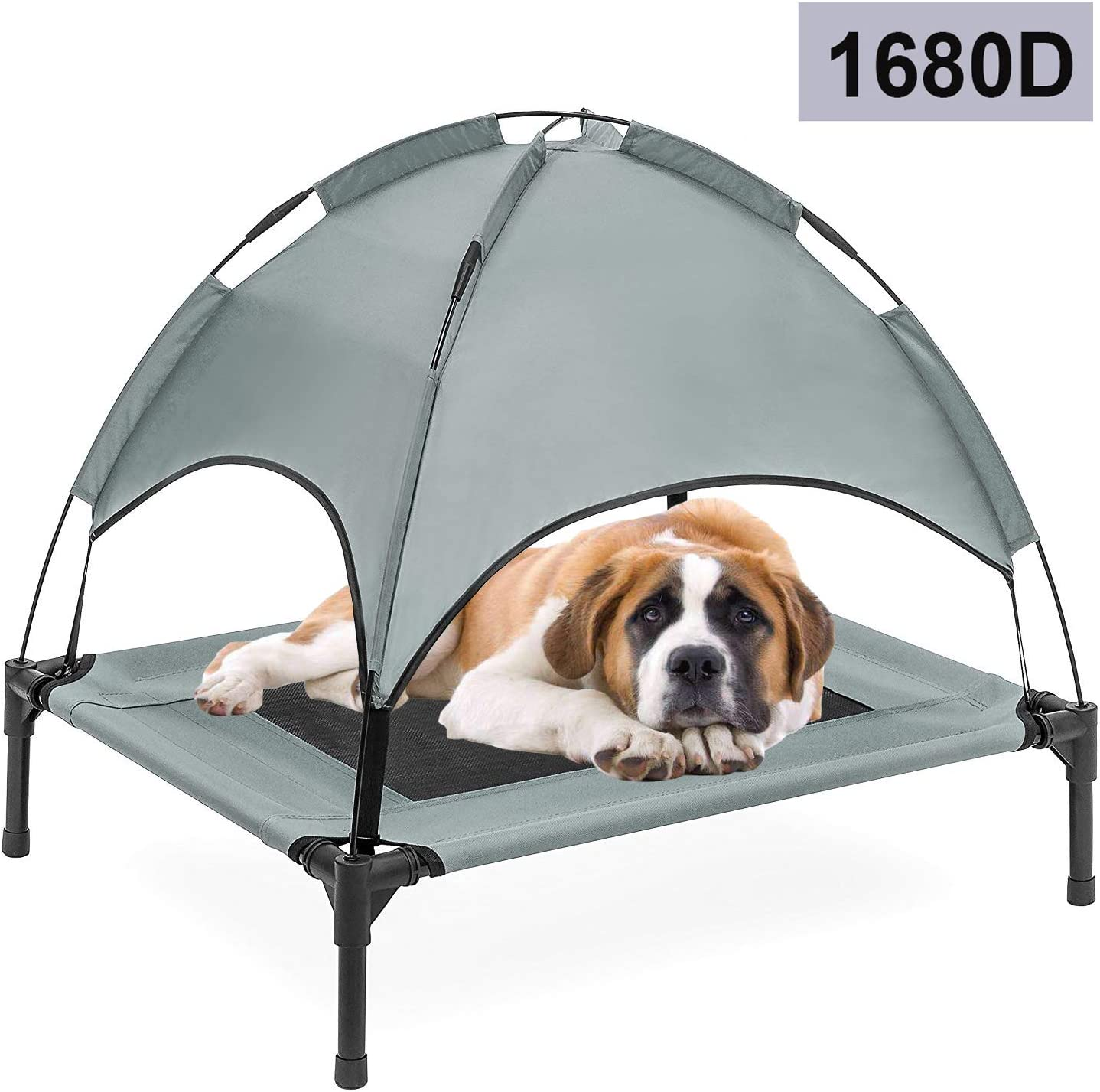 """Reliancer 30""""\36""""\48"""" XLarge Elevated Dog Cot with Canopy Shade 1680D Oxford Fabric Outdoor Pet Cat Cooling BedTent w/Convenient Carrying Bag Indoor Sturdy Steel Frame Portable for Camping Beach"""
