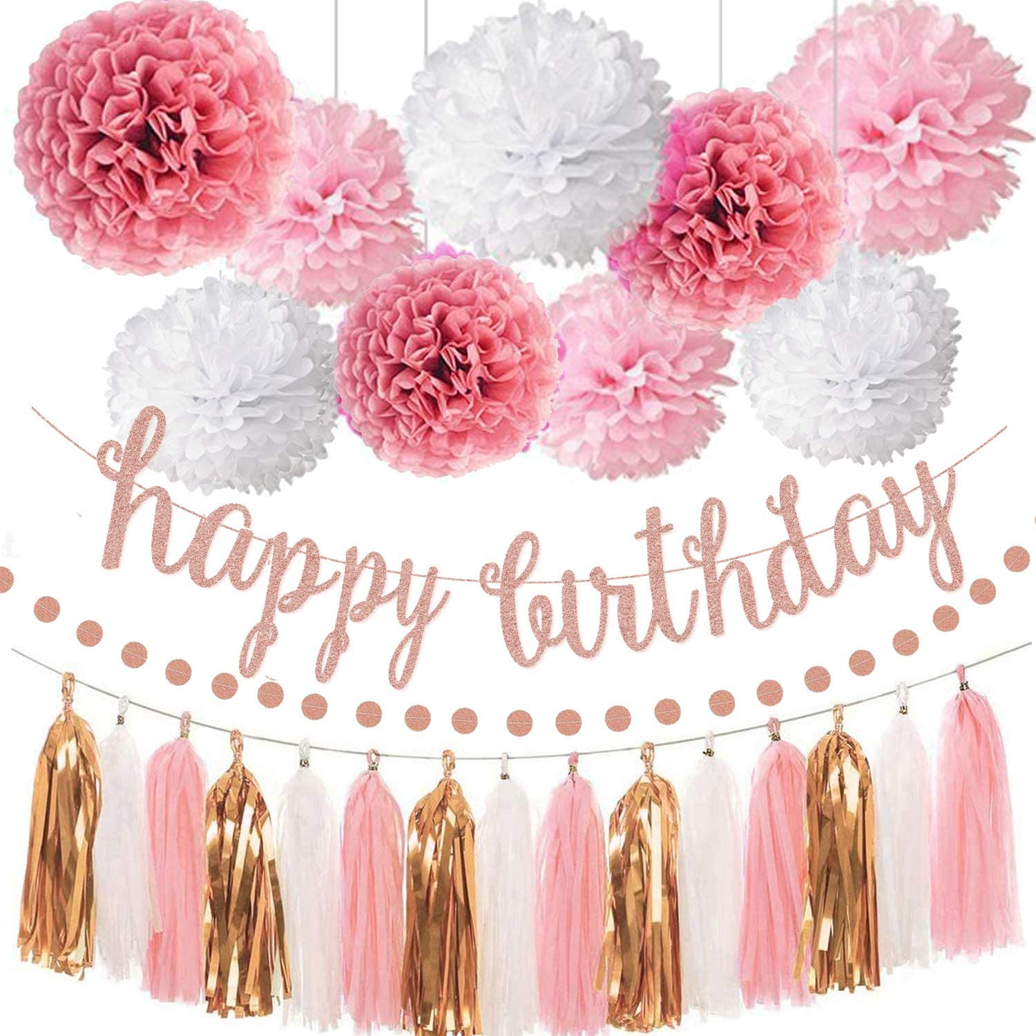 Pink Rose Gold Birthday Party Decorations Set - Rose Gold Glittery Happy Birthday banner, Tissue Paper Pom, Circle Dots Garland and Tassel Garland for Birthday Party Decorations