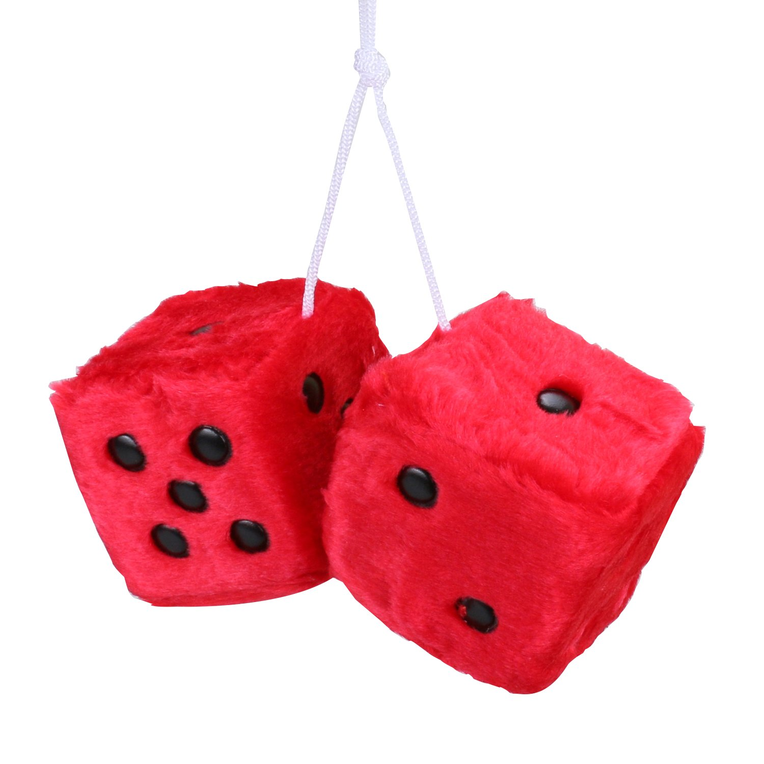 Car Fuzzy Dice,3 inch Pair of Retro Square Mirror Car Hanging Dice, Couple Fuzzy Dice with Dots For Car Interior Ornament Decoration (Black) OUERKEJI