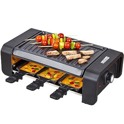 KLAGENA raclette con Grill y 6 sartenes raclette – Plancha Grill/Parrilla