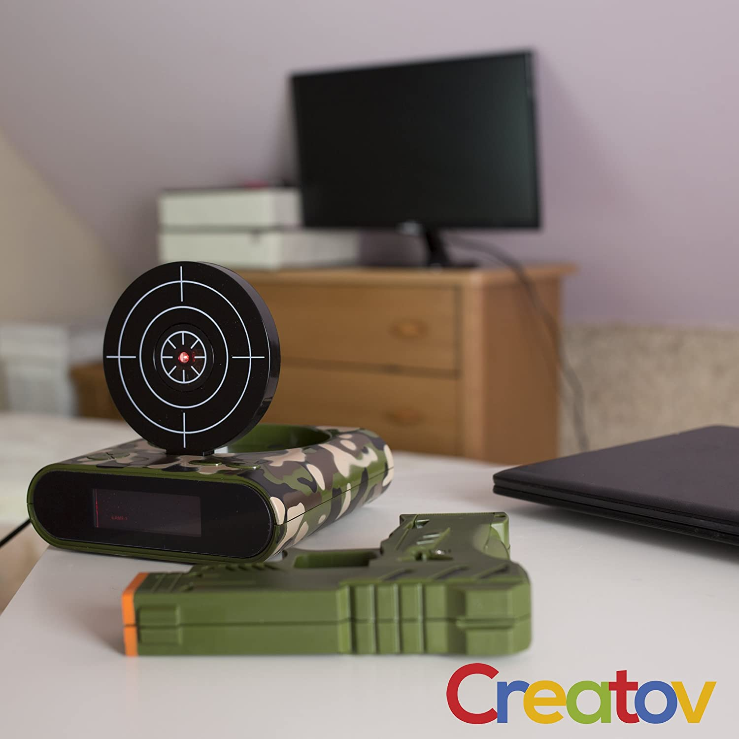Target Alarm Clock With Gun Infrared And Memo Board Flashing Light Circuit Realistic Sound Effects 08 Mw Camouflage By Creatov Sports Outdoors