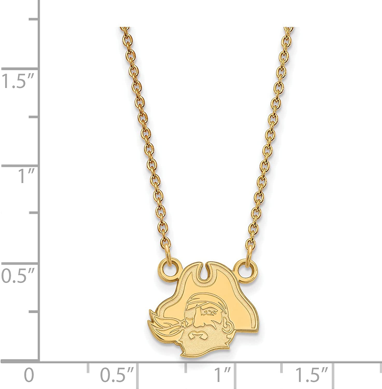 10k Yellow Gold East Carolina University Pirates Mascot Head Pendant Necklace 12x11mm 18 Inches