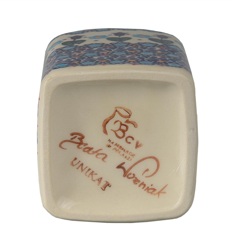 Classic Boleslawiec Pottery Hand Painted Ceramic Olive Oil or Vinegar Bottle 0.7L 013-T-001 by BCV Boleslawiec Pottery