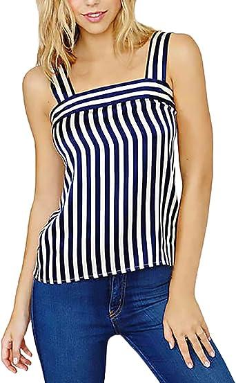 Mujer Camisa De Gasa Elegantes Verano Tank Top Sencillos Diario Casual Hippies Vintage Rayas Shirt Blusa Chalecos Sin Mangas: Amazon.es: Ropa y accesorios