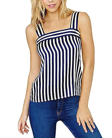 Mujer Camisa De Gasa Elegantes Verano Chalecos Sin Mangas Casual Ropa Dama Moda Fashionista Hippies Vintage Rayas Shirt Blusa Tank Top: Amazon.es: Ropa y ...