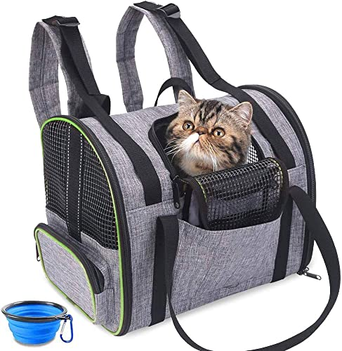 BEIKOTT Cat Backpack Carriers, Dog Carrier Backpack, Pet Cat Carrier Bag, Airline Approved Travel Pet Backpacks for Small Cats Puppies Teacup Dog Teddy Bunny