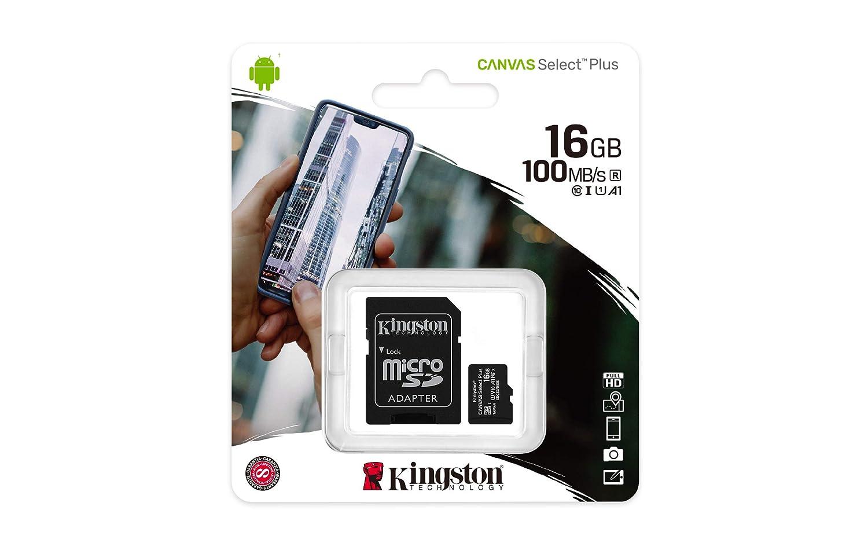 Kingston Canvas Select Plus Carte MIcro SD SDCS2//16GB-2P1A  Class 10 2x cards,SD Adaptateur inclus