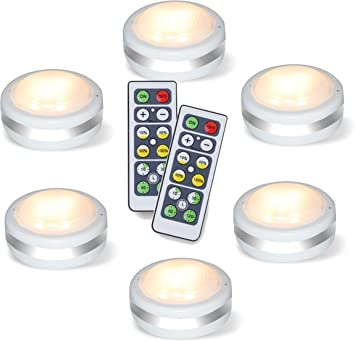 Puck Lights With Remote Starxing Wireless Led Puck Lights Battery Operated Led Puck Lights With Remote Control Led Under Cabinet Lighting Dimmable Closet Light Battery Powered 4000k Natural Whit Amazon Com