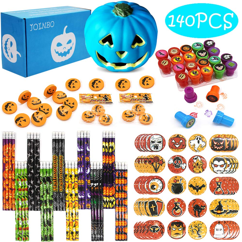 JoinBo140PCS 20 Pack Halloween Stationery Party Supplies Gift Sets Suitable for Halloween Classroom Exchange Parties and Teal Pumpkin Project by JoinBo