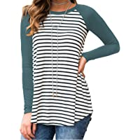 Halife Women's Striped Solid Raglan Long Sleeve Sports Tunic T Shirt Blouse Tops
