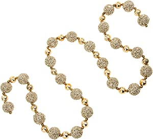 RAZ Imports - Formal Affair - 6' Glittered Gold and Silver Ball Garlands