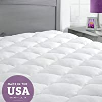 ExceptionalSheets Bamboo Mattress Pad with Fitted Skirt - Extra Plush Cooling Topper - Made in the USA