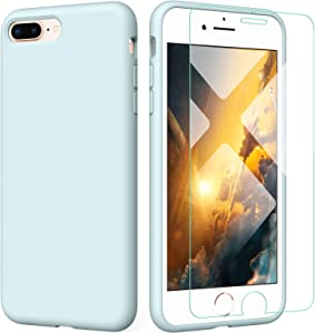 PIXIU Compatible with iPhone 8 Plus/7 Plus Liquid Silicone Gel Rubber Case+Tempred Glass Screen Protector,Full Body Slim Soft Microfiber Lining Drop Protective Case Baby Blue