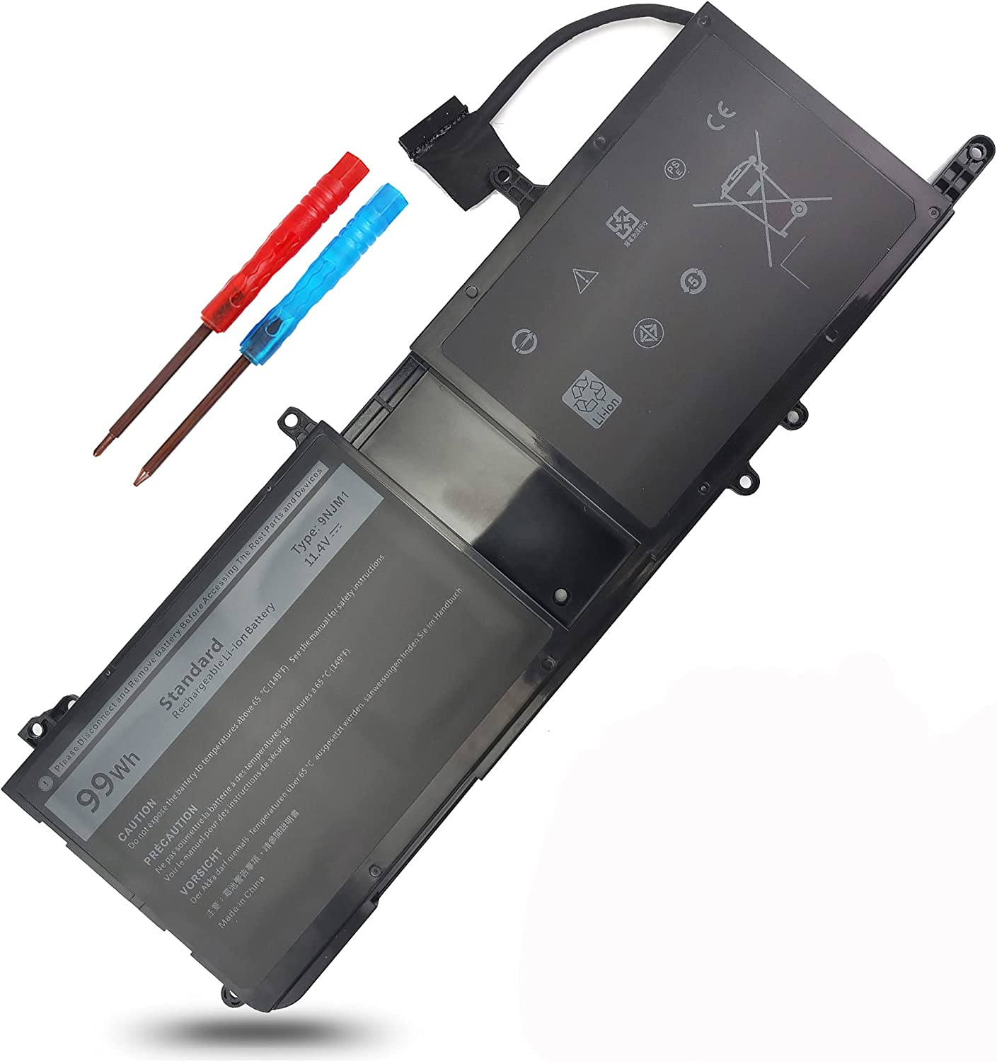 Type 9NJM1 Battery Replacement for Dell Alienware 17 R4 R5 15 R3 R4 546FF 44T2R P31E P69F P31E001 P31E002 P69F001 P69F002 HF250 MG2YH 01D82 0546FF 0HF250 0MG2YH 99Wh
