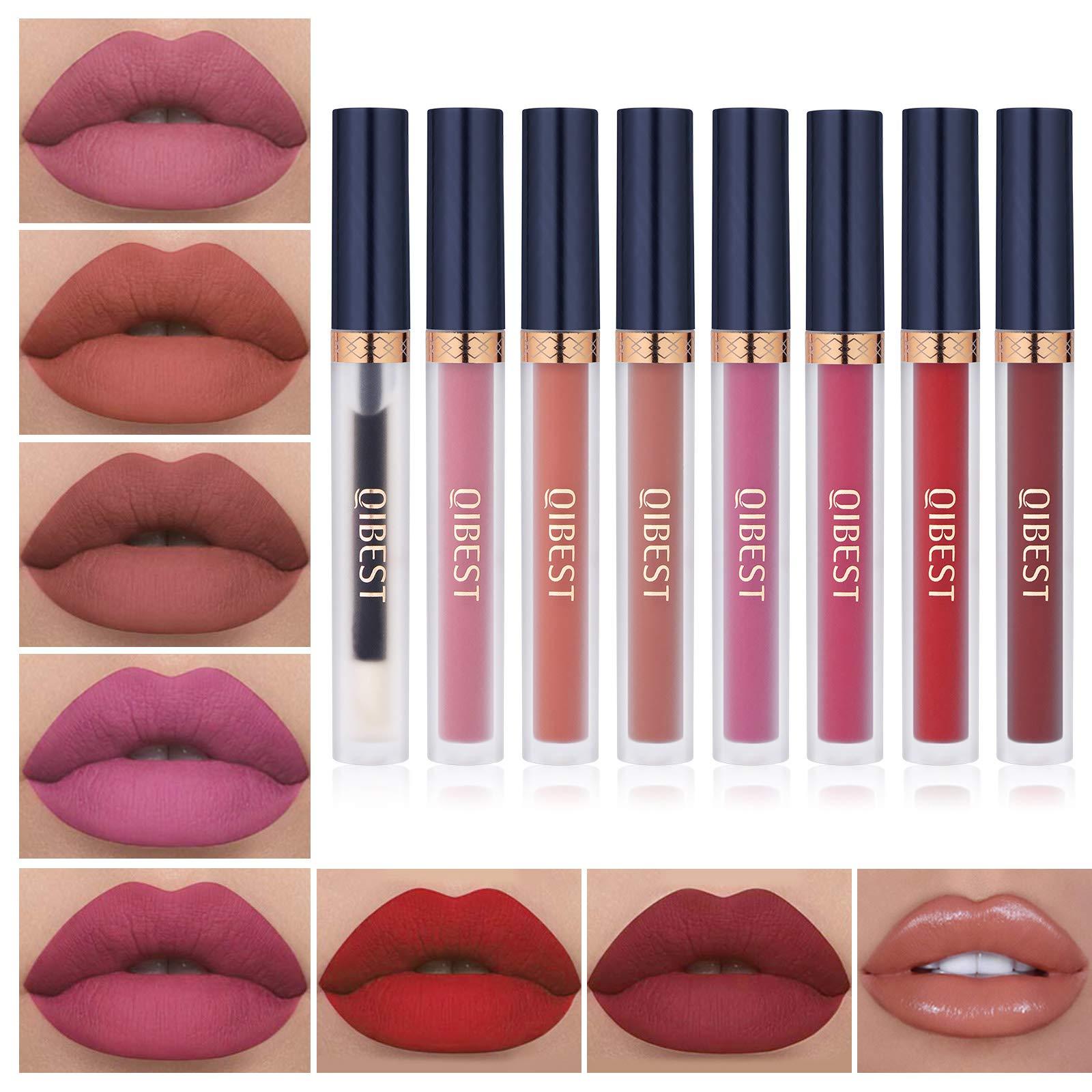 8pcs Matte Liquid Lipstick with Lip Plumper Makeup Set Velvety Long Lasting High Pigmented Nude Waterproof Lip Gloss Kit Girls Women Make Up Gift Set