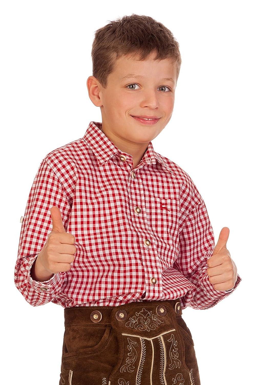 Trachten Kinderhemd - Ki-H037 - PETERLE - petrol, rot, blau