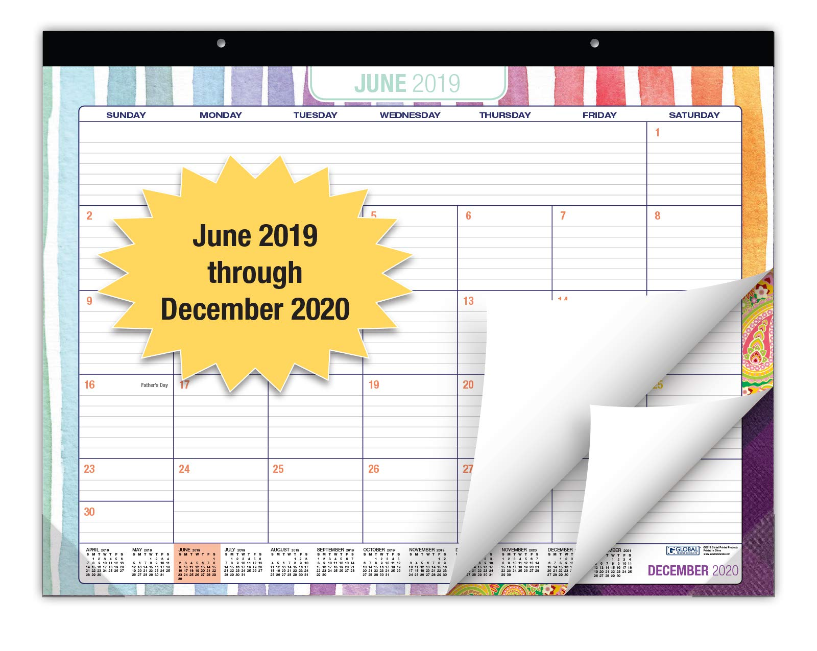 Desk Calendar 2019-2020: Large Monthly Pages - 22''x17'' - Runs from June 2019 Through December 2020 - Desk/Wall Calendar can be Used Throughout 2020. by Global Printed Products