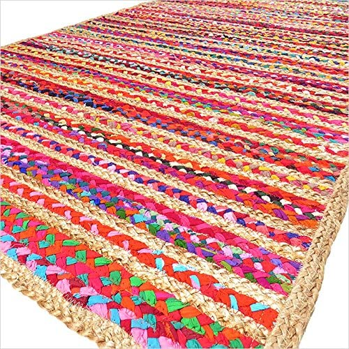 Eyes of India – 4 X 6 ft Colorful Woven Jute Chindi Braided Area Decorative Rag Rug Indian Bohemian Accent Handmade Handwoven