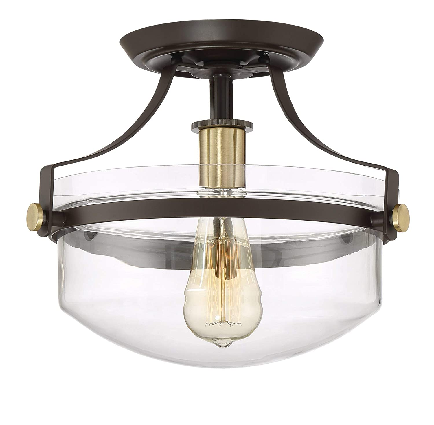 "Kira Home Zurich 12"" Rustic Semi-Flush Mount Ceiling Light w/Glass Shade, Antique Brass Accents, Oil-Rubbed Bronze Finish"