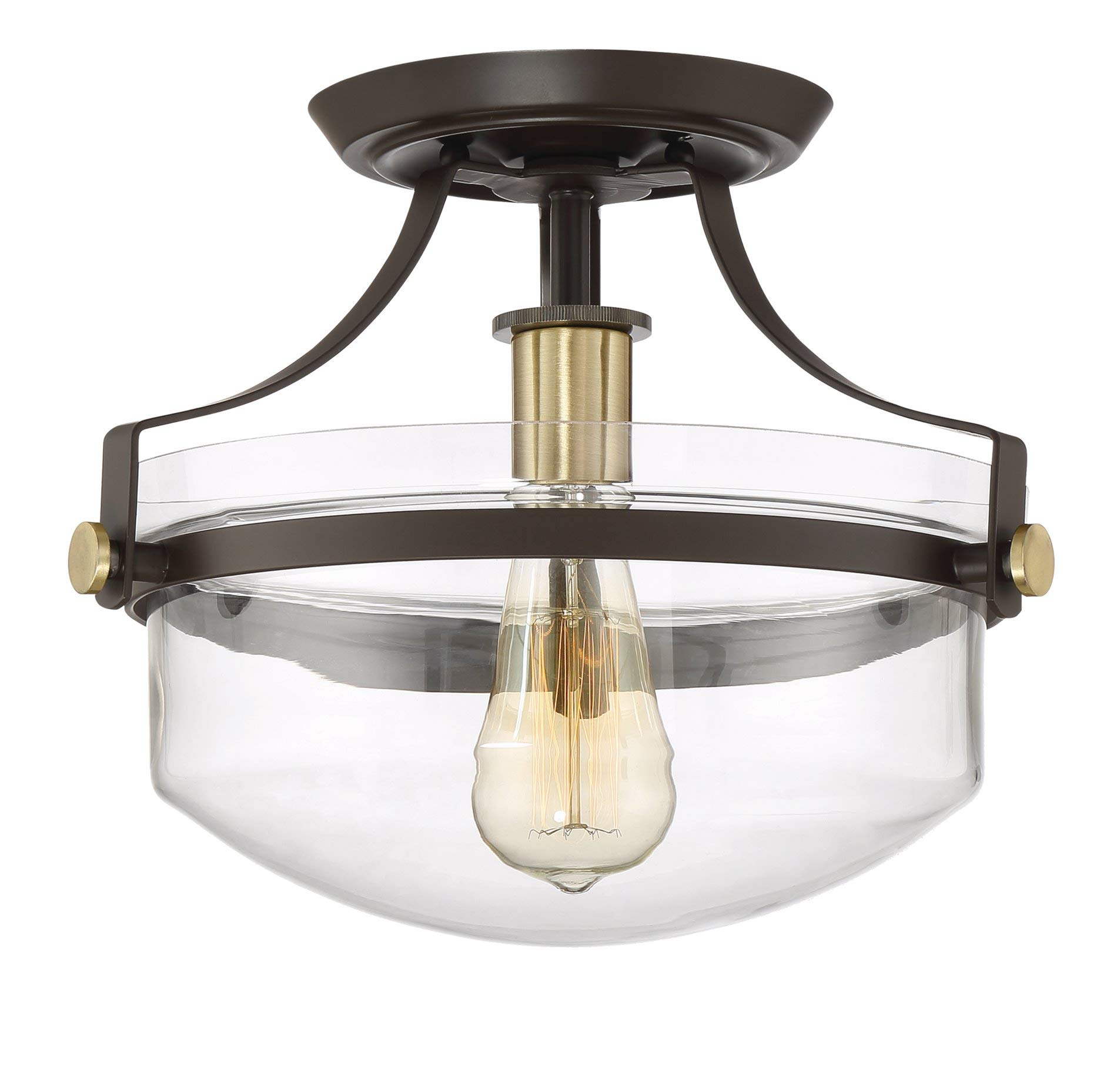 Kira Home Zurich 12'' Rustic Semi-Flush Mount Ceiling Light w/Glass Shade, Antique Brass Accents, LED Compatible, Oil-Rubbed Bronze Finish