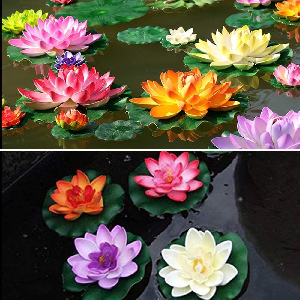 PEAK-EU 5 Pcs Artificial Foam Lotus Artificial Pond Floating Plants Waterproof Lotus Flower for Garden Pond Fountain Aquariums Decoration /…