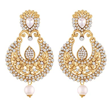 c6768775e Buy I Jewels Gold Plated Traditional Chandbali Earrings for Women E2341W  (White) Online at Low Prices in India   Amazon Jewellery Store - Amazon.in