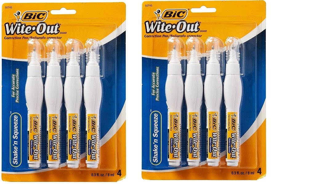 BIC CORPORATION Wite-Out Shake 'N Squeeze Correction Pen, 8 Ml, White, 4/pack