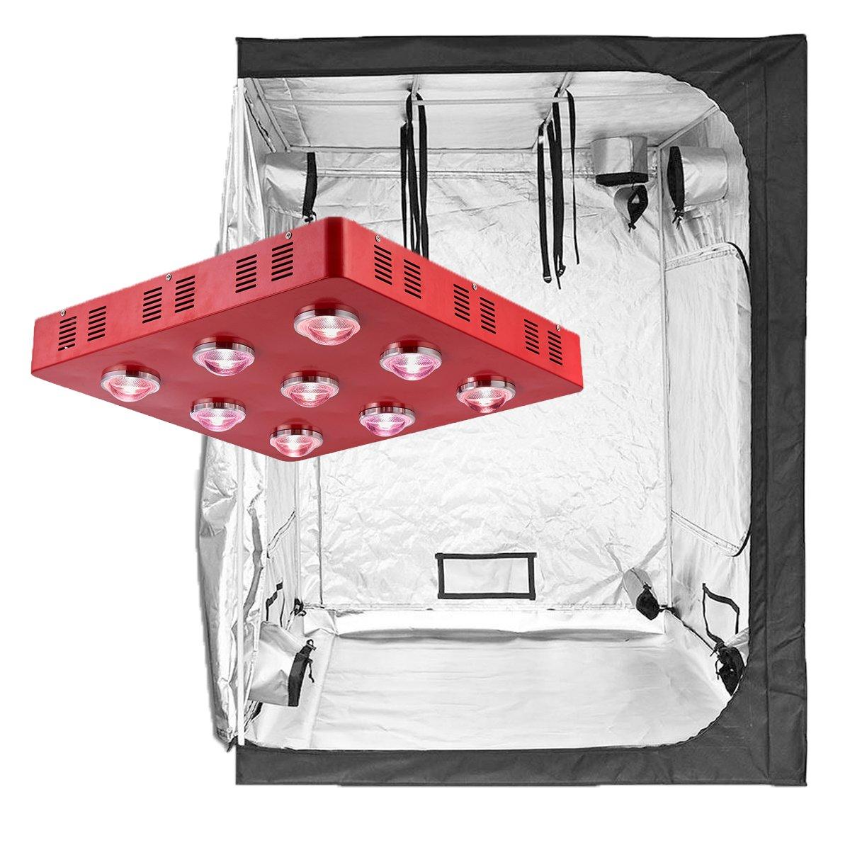 TopoLite 300W/ 600W/ 800W/ 1200W Full Spectrum LED Grow Light + Multiple Size Grow Tent Dark Room Indoor Hydroponic System Kit (LED 1800W, 60''X60''X80'')