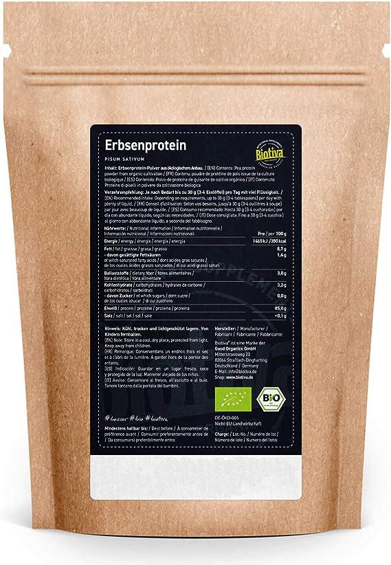 Polvo de guisante orgánico 1 kg - contenido de proteína del 83% - 100% aislado de proteína de guisante - libre de gluten, soja y lactosa