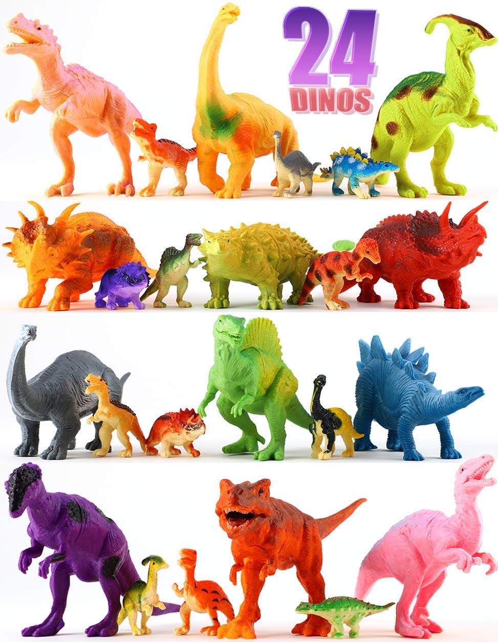 "24 Dinosaur Toys - Colorful Educational Set Of 12 Large 7"" & 12 Mini 1"" Plastic Realistic Figure & Playset - T-rex Spinosaurus Triceratops & More – Kids Party Favors Boys & Girls Age 3+ Years Old Gift Shoof Universal JMD Ltd."