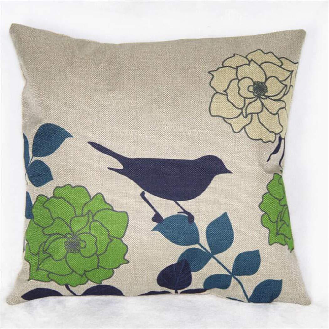 Eleusine Housse de Coussin en Lin Coton Jet taie d'oreiller Floral décoration Bureau à Domicile (Style 6)