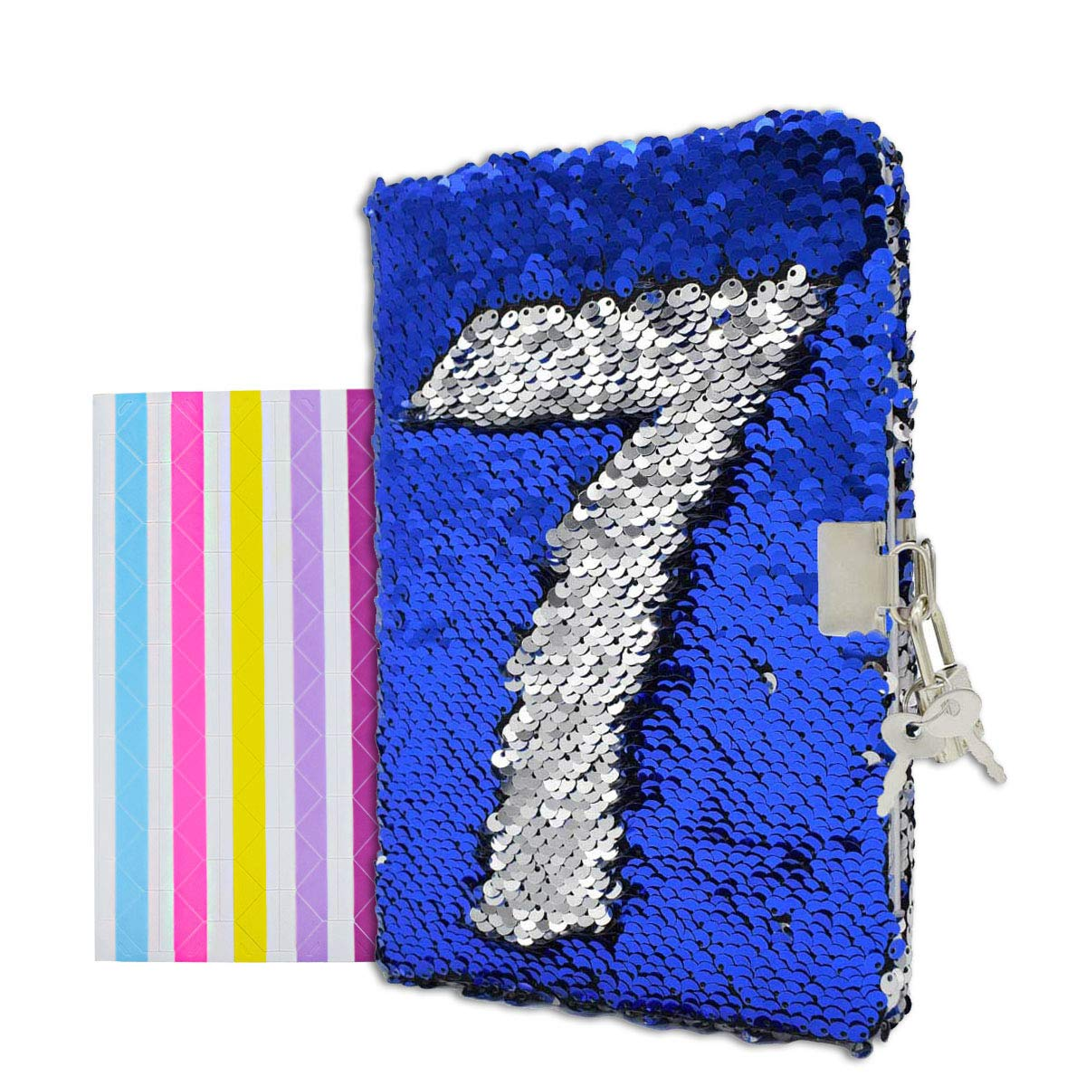 formato A5 colore: da arcobaleno a argento Da blu a argento. con lucchetto e chiave 156 pagine 215 x 140 mm Diario di viaggio reversibile con lustrini VIPbuy con angoli per foto
