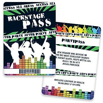 Biglietti di invito di compleanno come Backstage Pass | con stampa