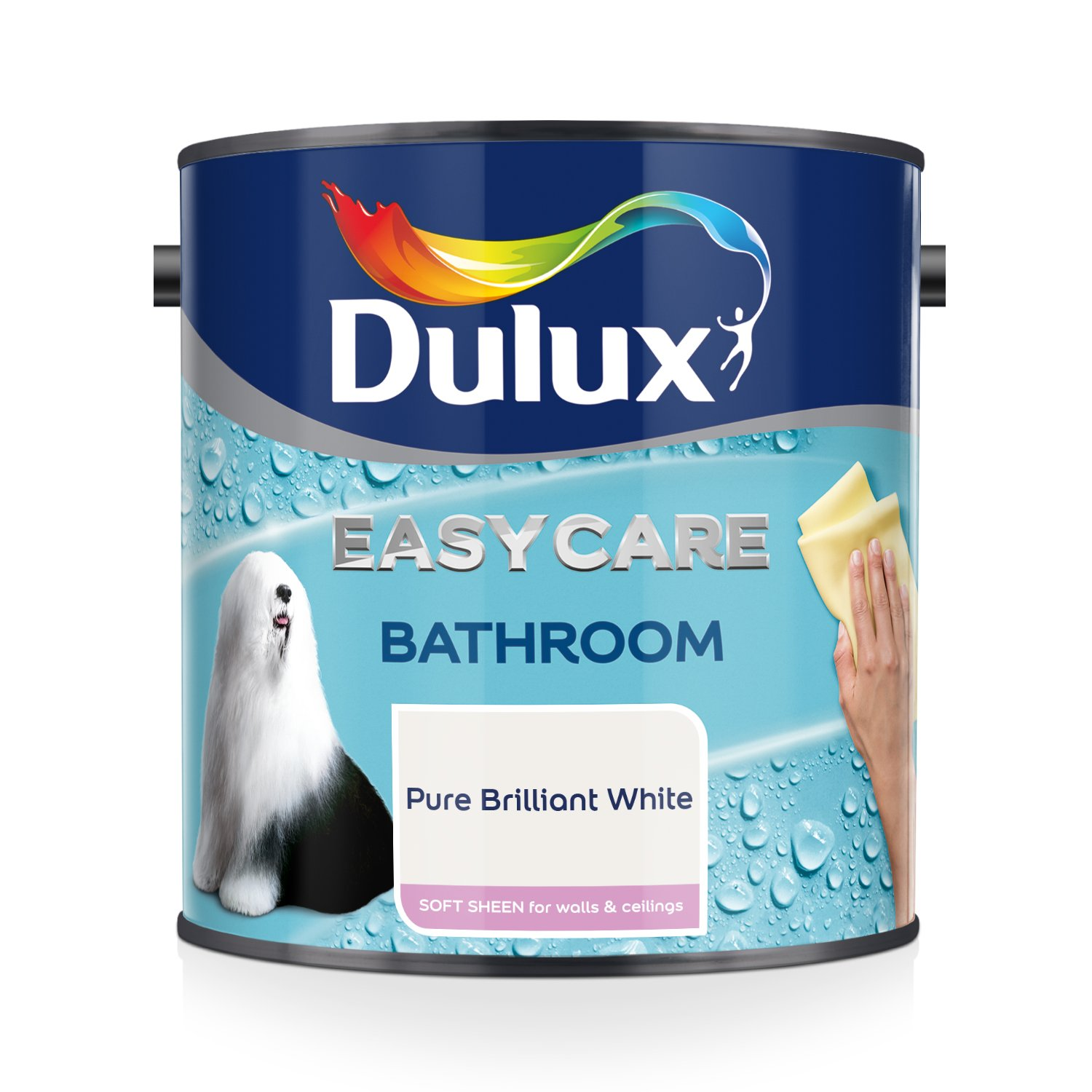 Dulux Easycare Bathroom Soft Sheen Paint, Pure Brilliant White 1L AkzoNobel 500001