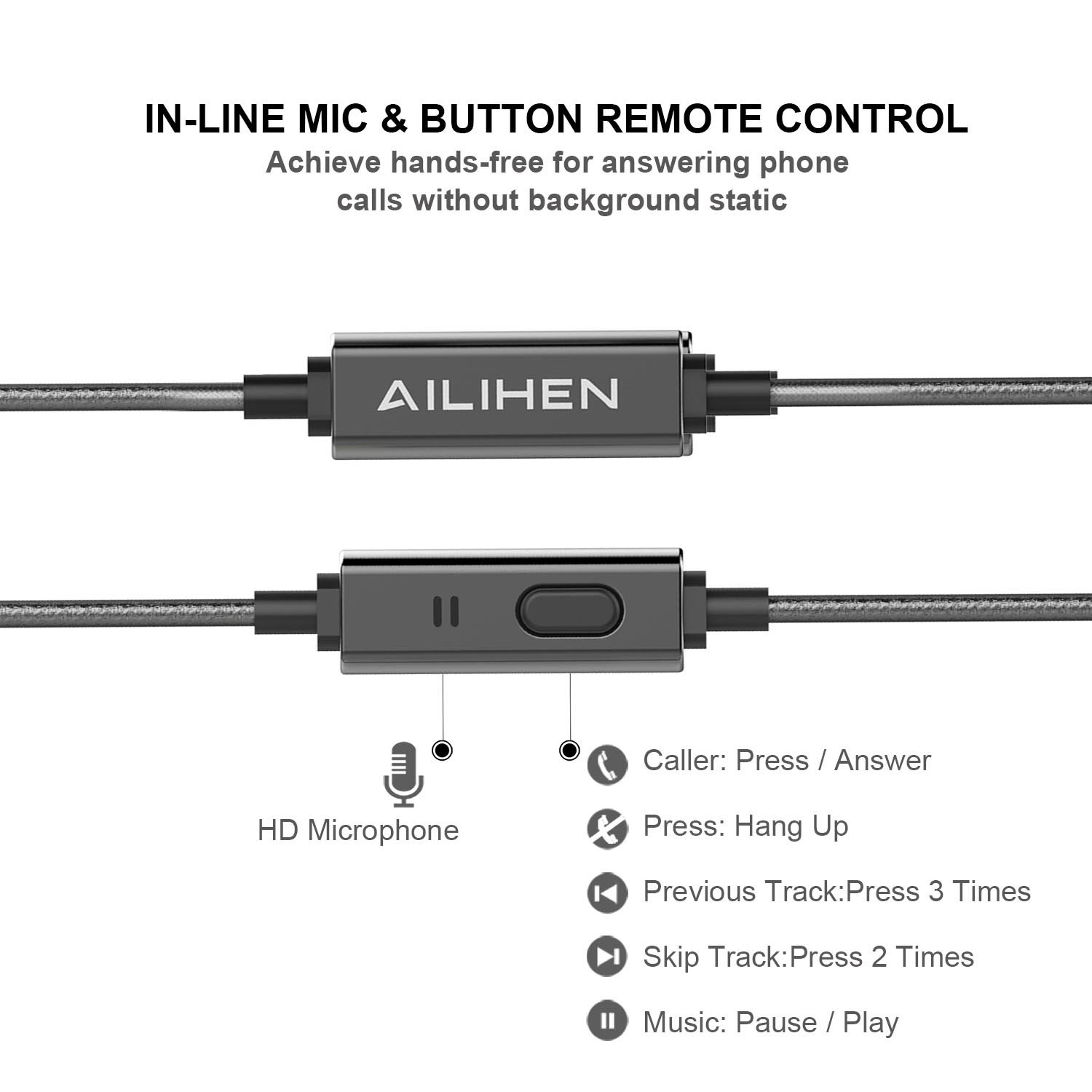 AILIHEN Metal Earbuds with Microphone In Ear Headphones Wired Earphones for Android/IOS Cell Phones iPad iPod Laptop Tablet Computer by AILIHEN (Image #3)