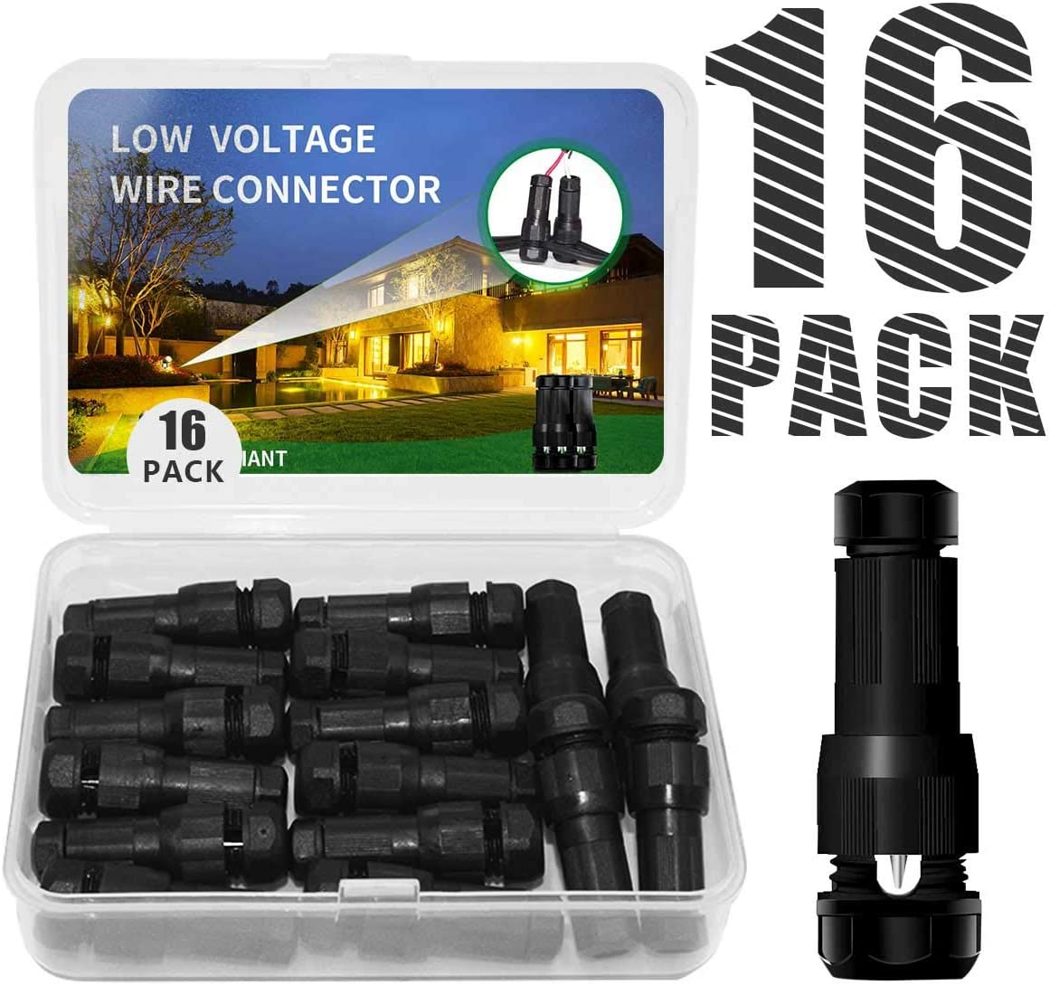 Hypergiant Fastlock Twist Low Voltage Wire Connector 16 Pack,landscape lighting connector For 12 14 16 Gauge Cable,outdoor lights connector for Garden Path Yard Lights Work for Malibu Paradise Moonray