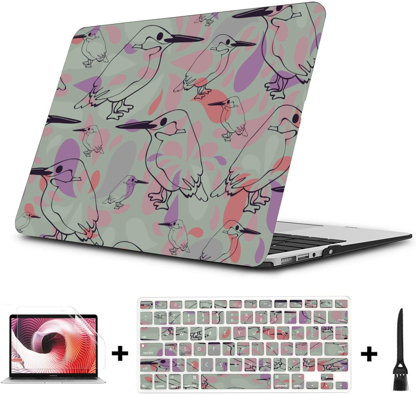A1708 MacBook Pro Case Spring Cute Ostrich Flower Green Leaf Plastic Hard Shell Compatible Mac Air 11 Pro 13 15 MacBook Cover 13 Inch Protection for MacBook 2016-2019 Version