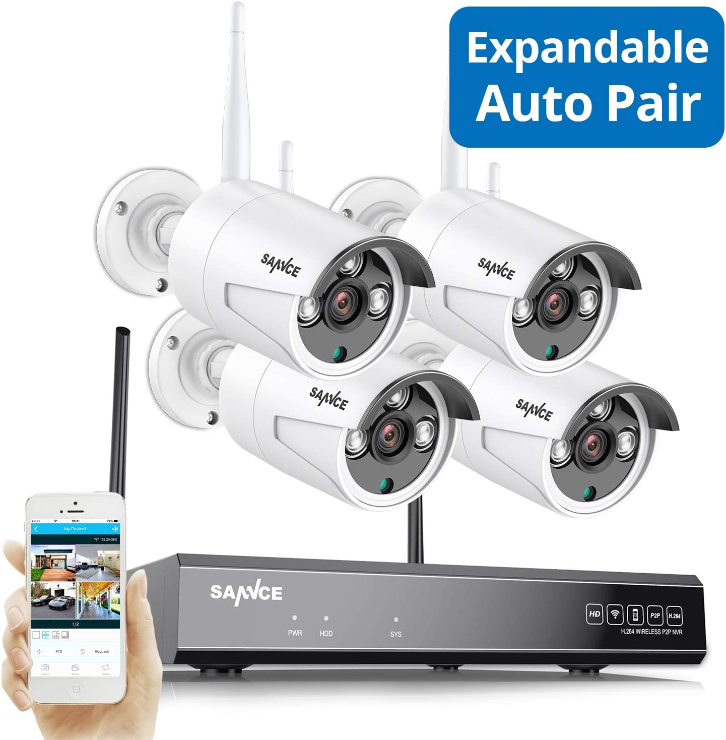 Wireless Security Camera System, SANNCE 8CH 1080P NVR 4Pcs 2MP Outdoor Enhanced Signal WiFi Surveillance Cameras, Weatherproof, Motion Detection with Screenshot, Remote Monitoring,NO Hard Drive