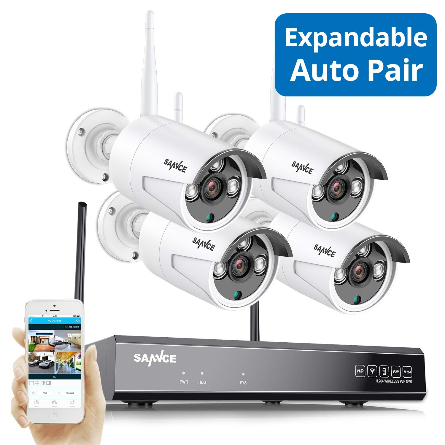 Update Expandable Wireless Security Camera System, SANNCE 1080P 8CH NVR and 4 pcs 960P IP66 Weatherproof Surveillance Cameras,Indoor/Outdoor with 100FT Night Vision, NO HDD Included