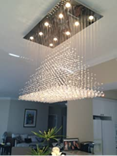 Siljoy Modern Rain Drop Crystal Chandeliers Dining Room Ceiling Lights Over  Table L100 X W50cm