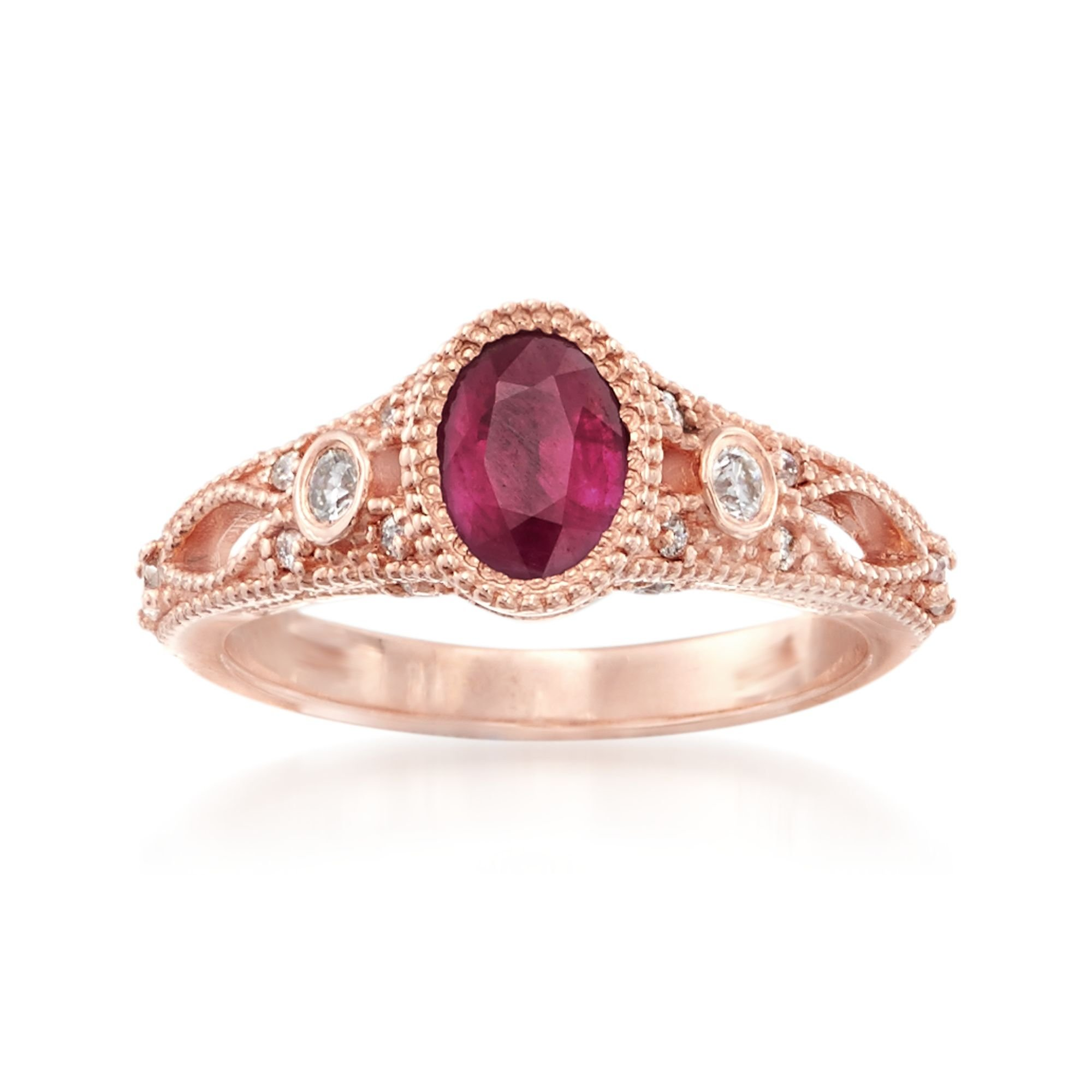 Ross-Simons Ruby and .25 ct. t.w. Diamond Ring in 14kt Rose Gold