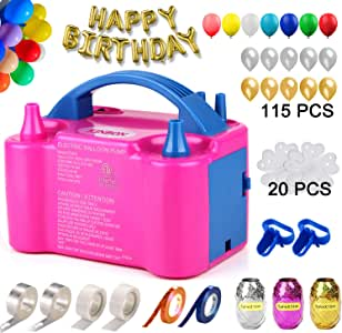 160 Pcs Balloon Pump KINBON Electric Portable Dual Nozzle Electric air Balloon Blower Pump, Electric Balloon Inflator for Party Birthday Wedding Festival(Rose Red 110V 600W)