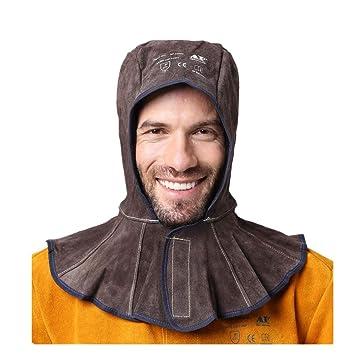 Capucha de soldadura de cuero profesional, capa de soldadura de vaca de primera clase, forro de malla de algodón con costuras antifuego aprobado por la CE: ...