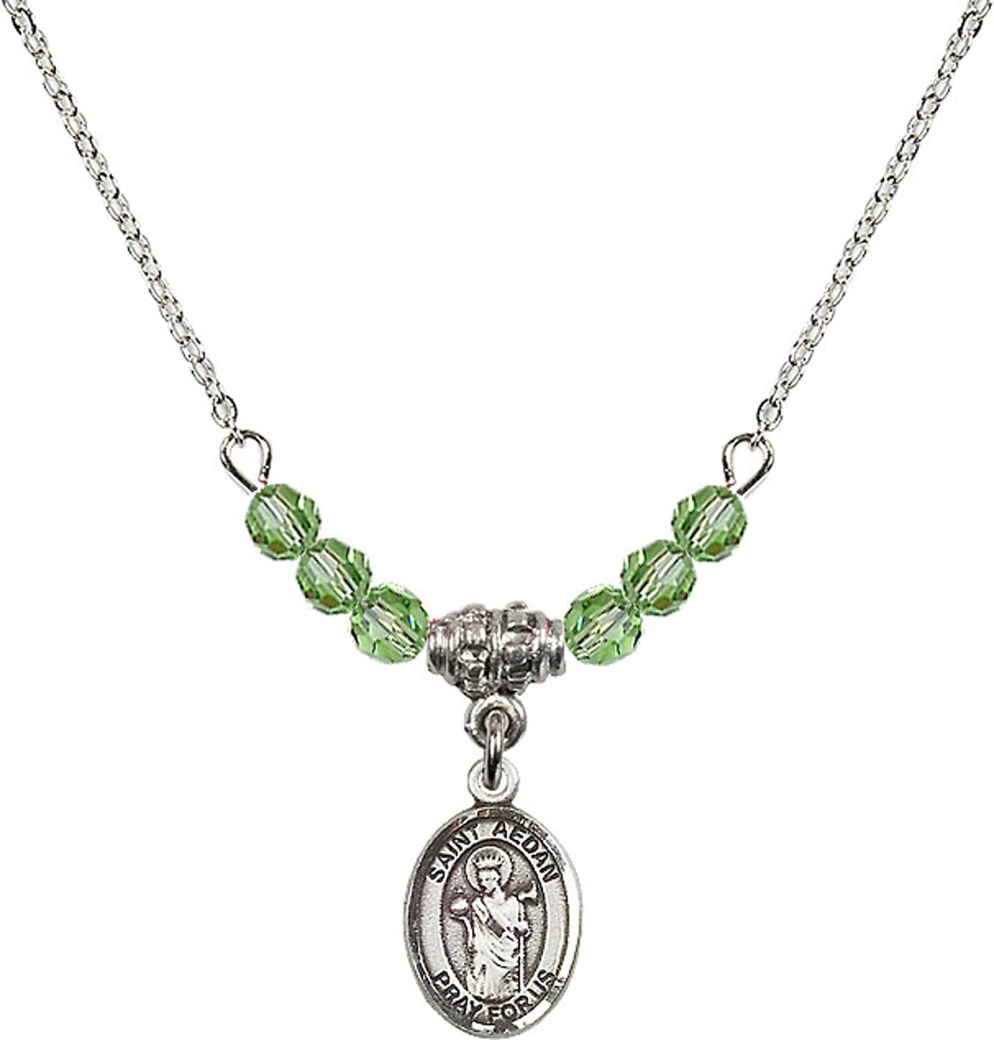 Bonyak Jewelry 18 Inch Rhodium Plated Necklace w// 4mm Green August Birth Month Stone Beads and Saint Aedan of Ferns Charm